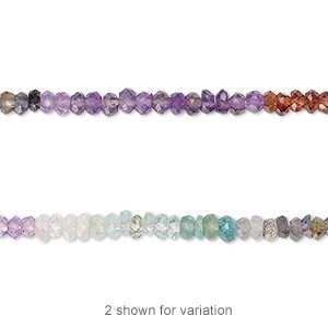 bead, multi-gemstone (natural / dyed / heated / irradiated), multicolored, 3x2mm hand-cut faceted rondelle, b grade, mohs hardness 3 to 7. sold per 13-inch strand.