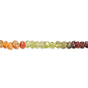 bead, multi-gemstone (natural / dyed / heated / irradiated), multicolored, 3x2mm-4x3mm hand-cut faceted rondelle, b- grade, mohs hardness 3 to 7. sold per 13-inch strand.