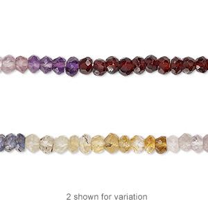 bead, multi-gemstone (natural / dyed / heated / irradiated), multicolored, 4x2mm hand-cut faceted rondelle, b grade, mohs hardness 3 to 7. sold per 13-inch strand.