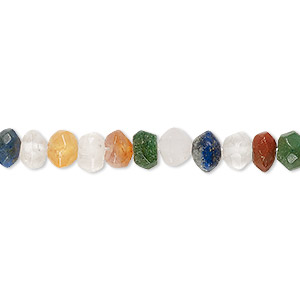 bead, multi-gemstone (natural / dyed / heated / irradiated), multicolored, 6x3mm-7x5mm hand-cut faceted rondelle, c- grade, mohs hardness 3 to 7. sold per 13-inch strand.