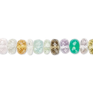 bead, multi-gemstone (natural / dyed / heated), 7x3mm-8x6mm hand-cut faceted rondelle, b+ grade, mohs hardness 3 to 7. sold per 7-inch strand.