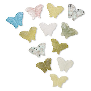 bead, multi-gemstone (natural / dyed / manmade) and glass, 33x24mm carved butterfly, c grade. sold per pkg of 12 beads.