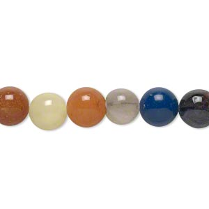 bead, multi-gemstone (natural / dyed / manmade), multicolored, 7-8mm round, d grade. sold per 15-inch strand.
