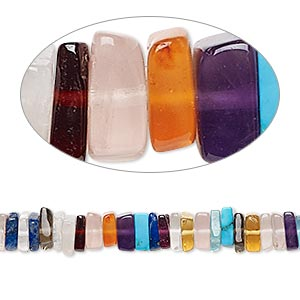 bead, multi-gemstone (natural / dyed / oiled / heated), 3x1mm-6x3mm hand-cut square rondelle, b grade, mohs hardness 3 to 7. sold per 8-inch strand, approximately 95-150 beads.