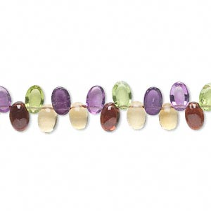 bead, multi-gemstone (natural / heated), 6x4mm hand-cut top-drilled domed oval, b- grade, mohs hardness 3 to 7. sold per 8-inch strand, approximately 60 beads.
