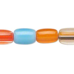 bead, multi-glass, multicolored, 13x8mm-15x10mm barrel. sold per 16-inch strand.