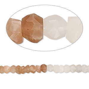 bead, multi-moonstone (natural), 3x2mm-4x3mm hand-cut faceted rondelle, c+ grade, mohs hardness 6 to 6-1/2. sold per 13-inch strand.