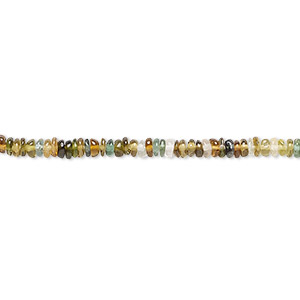 bead, multi-tourmaline (natural), 2x1mm-3x2mm hand-cut rondelle, a- grade, mohs hardness 7 to 7-1/2. sold per 12-inch strand.
