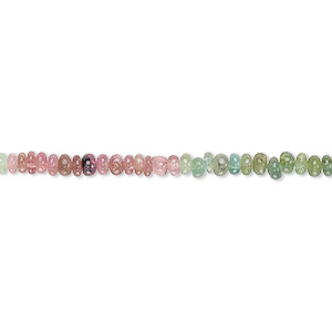 bead, multi-tourmaline (natural), 2x1mm-3x2mm hand-cut rondelle, c+ grade, mohs hardness 7 to 7-1/2. sold per 12-inch strand.