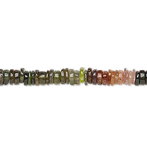bead, multi-tourmaline (natural), 4x1mm-6x2mm hand-cut rondelle, b grade, mohs hardness 7 to 7-1/2. sold per 8-inch strand, approximately 100-150 beads.