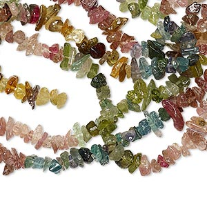 bead, multi-tourmaline (natural), small chip, mohs hardness 7 to 7-1/2. sold per 34-inch strand.