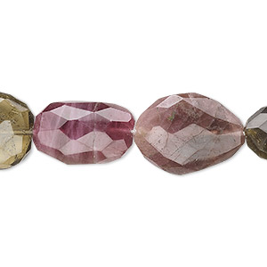 bead, multi-tourmaline (natural), small hand-cut faceted flat nugget, mohs hardness 7 to 7-1/2. sold per 16-inch strand.