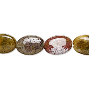 bead, ocean jasper (natural), 14x10mm flat oval, b grade, mohs hardness 6-1/2 to 7. sold per 16-inch strand.