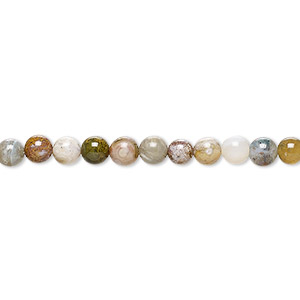 bead, ocean jasper (natural), 4mm round, b grade, mohs hardness 6-1/2 to 7. sold per 16-inch strand.