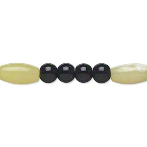 bead, olive new jade and black obsidian (natural), 5-6mm round and 12x6mm-12x7mm oval, c- grade, mohs hardness 2-1/2 to 6. sold per 15-inch strand.