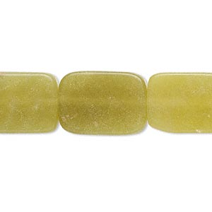 bead, olive new jade (natural), 18x13mm flat rectangle, b grade, mohs hardness 2-1/2 to 6. sold per 16-inch strand.
