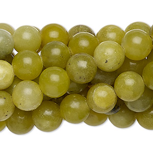 bead, olive new jade (natural), 8mm round, c grade, mohs hardness 2-1/2 to 6. sold per pkg of (10) 16-inch strands.