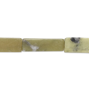 bead, olive new jade (natural), dark, 20x6mm-21x7mm square tube, c grade, mohs hardness 2-1/2 to 6. sold per 15-inch strand. minimum 5 per order.
