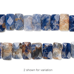 bead, orange sodalite (natural), 9x5mm-10x6mm double-drilled faceted rectangle with 0.5-1.5mm holes, b grade, mohs hardness 5 to 6. sold per 8-inch strand, approximately 35 beads.