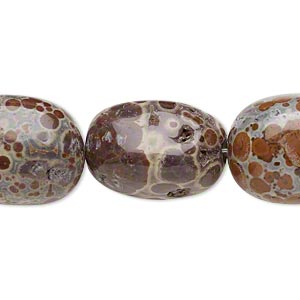 bead, orbicular jasper (natural), medium hand-cut nugget, mohs hardness 6-1/2 to 7. sold per 8-inch strand.