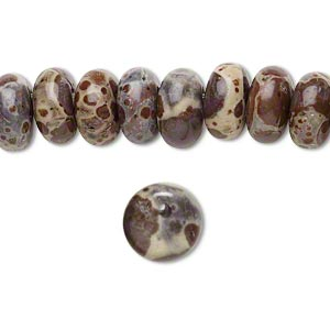 bead, orbicular jasper (natural), opaque, 10mm top-drilled puffed flat round, b grade, mohs hardness 6-1/2 to 7. sold per pkg of 20.