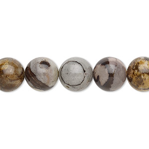 bead, outback jasper (natural), 10mm round with 0.5-1.5mm hole, b grade, mohs hardness 6-1/2 to 7. sold per 16-inch strand.