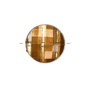 bead, painted acrylic, semitransparent clear and brown, 20mm faceted puffed flat round. sold per pkg of 40.