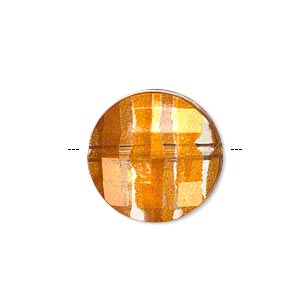 bead, painted acrylic, semitransparent clear and orange, 20mm faceted puffed flat round. sold per pkg of 40.