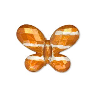 bead, painted acrylic, semitransparent clear and orange, 30x22mm faceted flat butterfly. sold per pkg of 40.