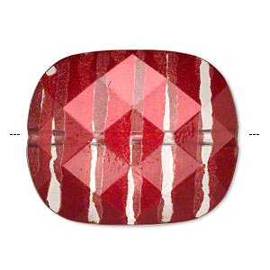 bead, painted acrylic, semitransparent clear and red, 34.5x29mm faceted rounded rectangle. sold per pkg of 10.