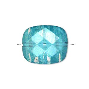 bead, painted acrylic, semitransparent clear and teal blue, 23x20mm faceted rounded rectangle. sold per pkg of 40.