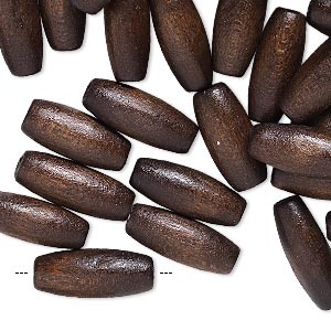bead, painted wood (coated), dark brown, 16x6mm hand-cut oval. sold per pkg of 450-500.