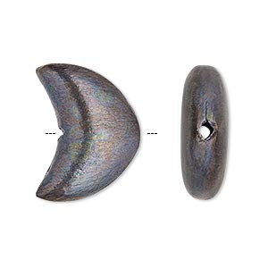 bead, patinaed copper, 22x17mm brushed puffed moon. sold per pkg of 4.