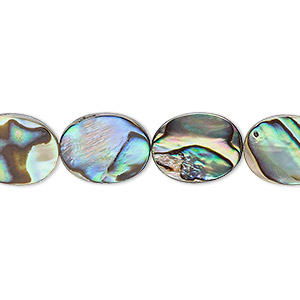 bead, paua shell and resin (assembled), 13x10mm flat oval. sold per 16-inch strand.