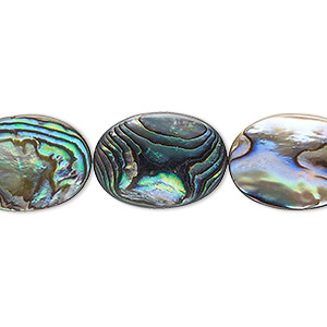 bead, paua shell and resin (assembled), 18x13mm flat oval. sold per 16-inch strand.