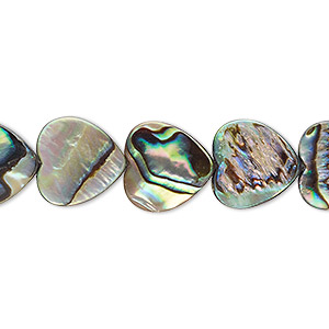 bead, paua shell (assembled), 12x12mm heart. sold per 16-inch strand.