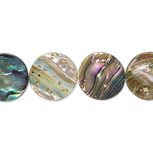 bead, paua shell (assembled), 14mm flat round. sold per 16-inch strand.