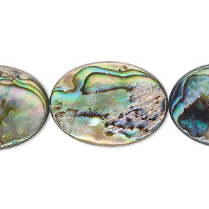 bead, paua shell (assembled), 25x18mm flat oval. sold per 16-inch strand.