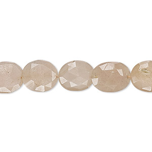 bead, peach moonstone (natural), 11x9mm-14x12mm hand-cut faceted puffed oval, b grade, mohs hardness 6 to 6-1/2. sold per 7-inch strand.