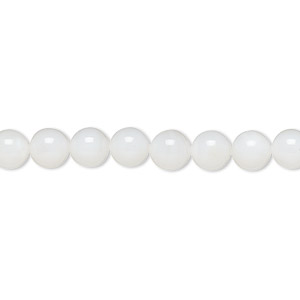 bead, pearl shell (bleached), white, 6mm round, mohs hardness 3-1/2. sold per 16-inch strand.