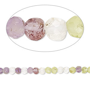 bead, peridot / amethyst / quartz crystal (natural), 3-4mm hand-cut faceted round, b- grade, mohs hardness 6-1/2 to 7. sold per 13-inch strand.