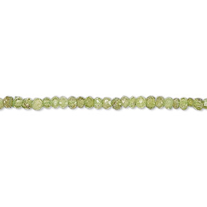 bead, peridot (natural), 2x1mm-3x2mm hand-cut faceted rondelle, c grade, mohs hardness 6-1/2 to 7. sold per 13-inch strand.