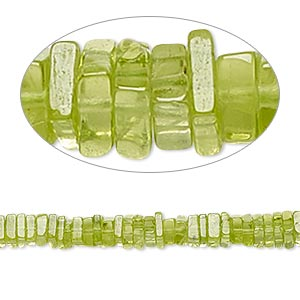 bead, peridot (natural), 4x1mm-6x2mm hand-cut square rondelle, b grade, mohs hardness 6-1/2 to 7. sold per 8-inch strand, approximately 95-150 beads.
