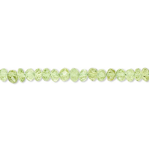 bead, peridot (natural), 4x3mm faceted rondelle, b grade, mohs hardness 6-1/2 to 7. sold per 16-inch strand.