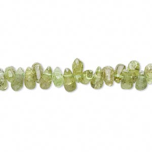 bead, peridot (natural), 5x3mm-7x4mm top-drilled teardrop, d grade, mohs hardness 6-1/2 to 7. sold per 14-inch strand.