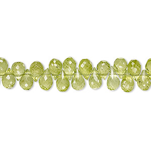 bead, peridot (natural), 6x4mm-9x5mm hand-cut top-drilled faceted teardrop, b grade, mohs hardness 6-1/2 to 7. sold per 5-inch strand.
