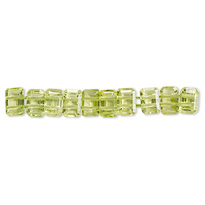 bead, peridot (natural), 6x4mm faceted emerald-cut, double-drilled, b grade, mohs hardness 6-1/2 to 7. sold per pkg of 10.