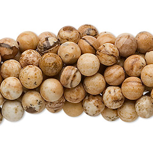 bead, picture jasper (natural), 6mm round, c grade, mohs hardness 6-1/2 to 7. sold per pkg of (10) 16-inch strands.