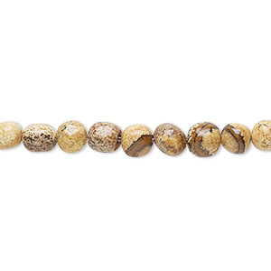 bead, picture jasper (natural), small hand-cut pebble, mohs hardness 6-1/2 to 7. sold per 8-inch strand.