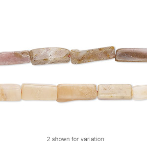 bead, pink opal (natural), light to medium, 8x4mm-14x5mm hand-cut square tube, c- grade, mohs hardness 5 to 6-1/2. sold per 13-inch strand.